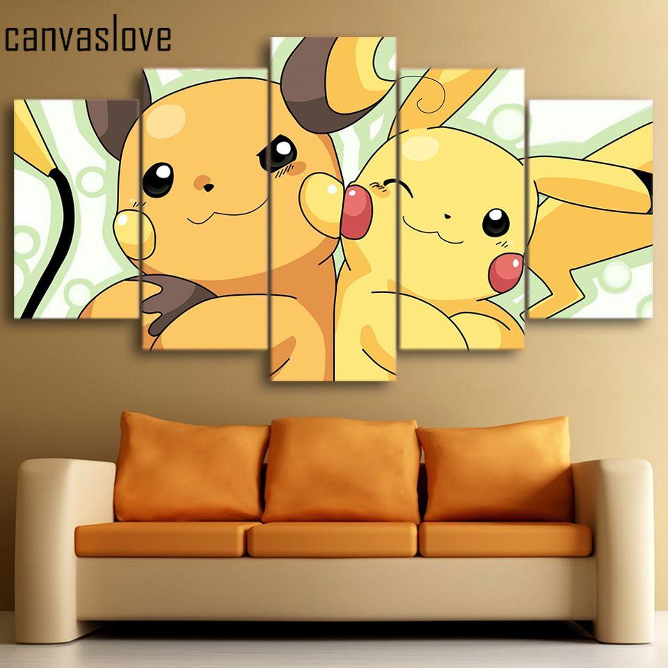 Wall Picture 5 piece canvas art HD print pokemon Pikachu painting ...