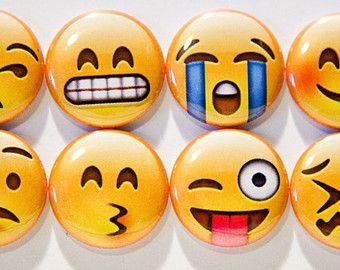 "Set of 10 Emoji Faces 1"" Pinback Buttons (Set 1"