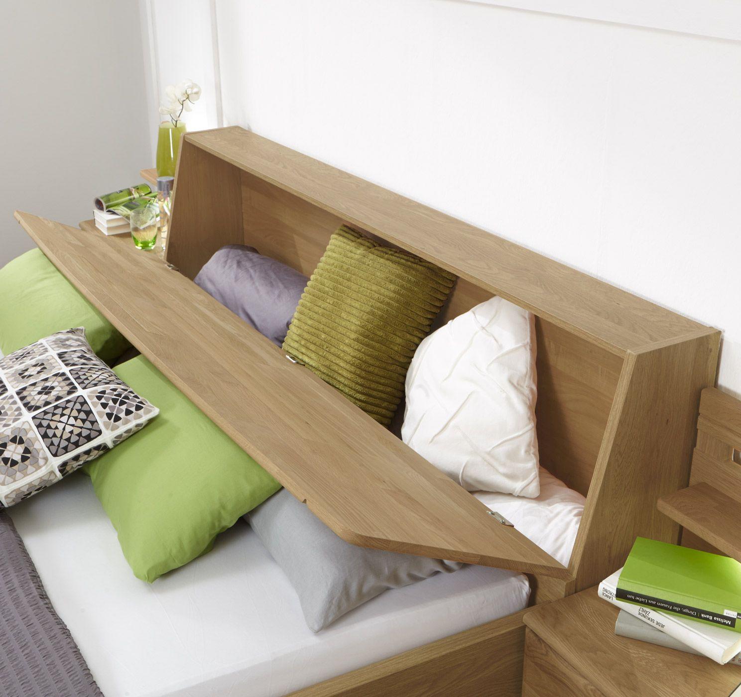 sch n bett mit stauraum im kopfteil schlafzimmer ideen pinterest bett mit stauraum. Black Bedroom Furniture Sets. Home Design Ideas