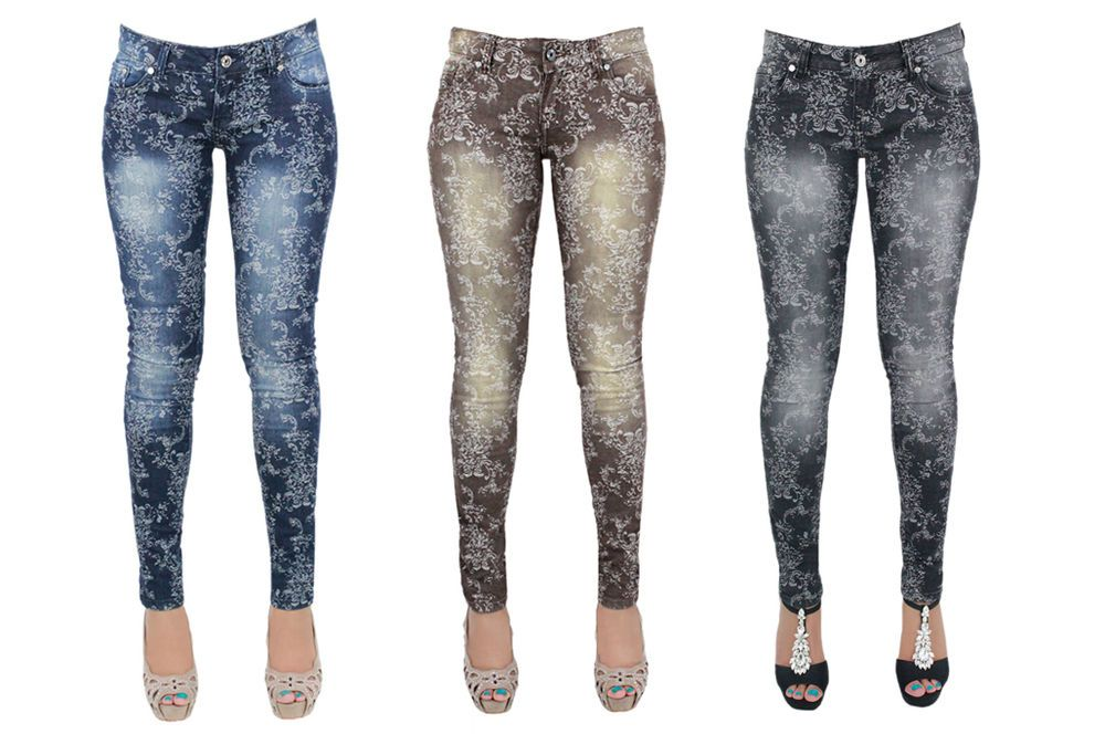 New Women/'s Floral Print Skinny Jeans Trousers Leggings Jeggings Size 6-14