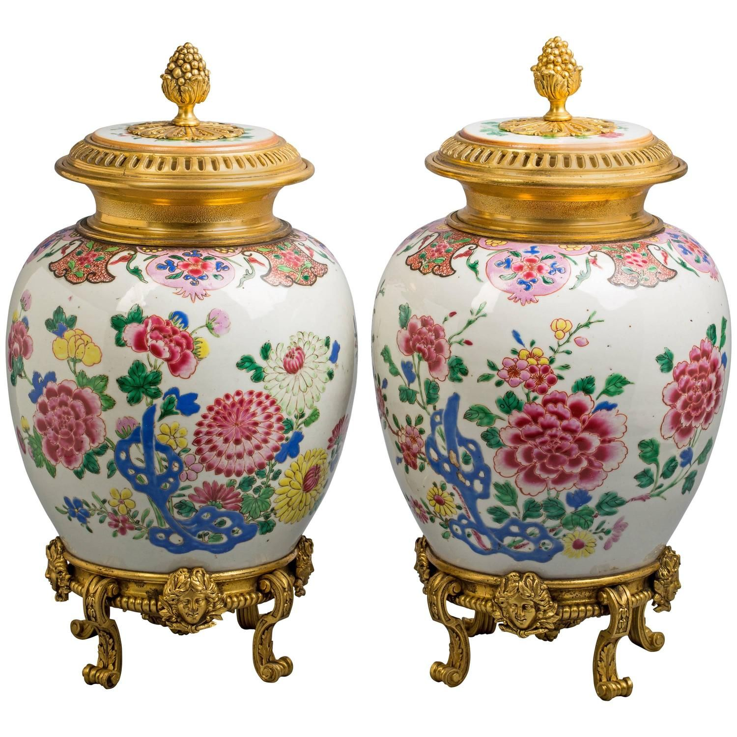 Pair of bronze mounted chinese porcelain covered vases circa 1800 pair of bronze mounted chinese porcelain covered vases circa 1800 floridaeventfo Choice Image