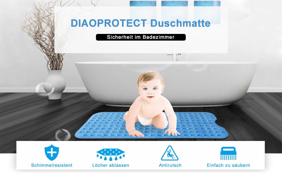 DIAOPROTECT Antirutschmatte Badewanne Extra Lang Badewannenmatte Maschinenwaschbar Duschmatte mit Saugn/äpfen 100x40cm f/ür Kinder und Erwachsene