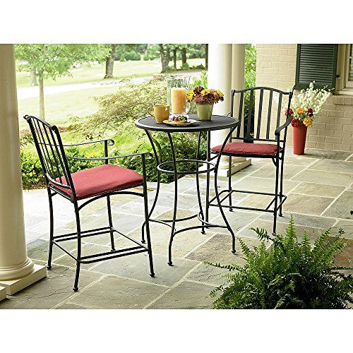 Cheap Wrought Iron 3 Pc Bistro Set Table And Two Chairs With