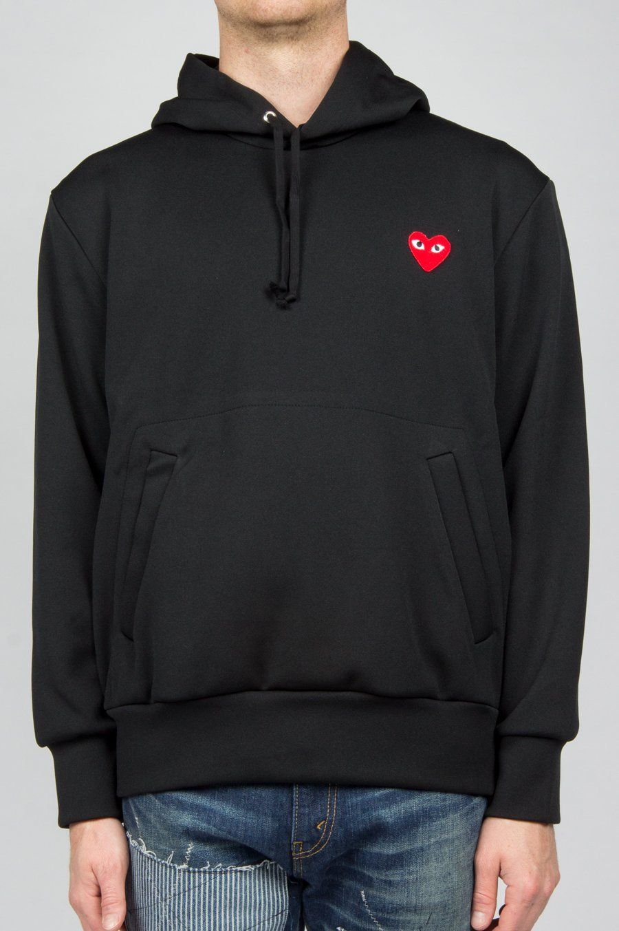 Comme Des Garcons Play Red Heart Pullover Hoody Black Hoodies Comme Des Garcons Pullover