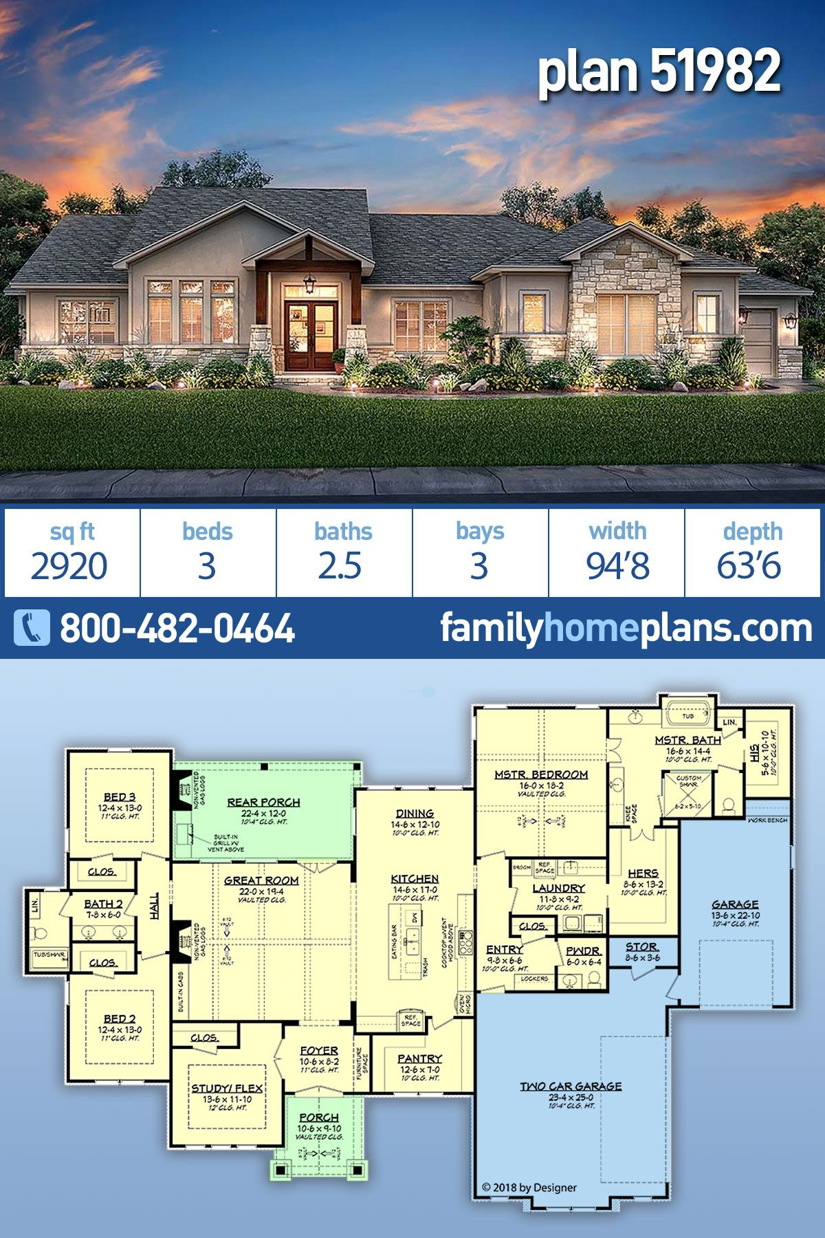 Tuscan Style House Plan 51982 With 3 Bed 3 Bath 3 Car Garage House Plans Ranch Home Floor Plans Building Plans House