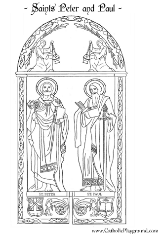 free coloring pages for all saints day | Saints Peter and Paul Catholic coloring page: Feast day is ...