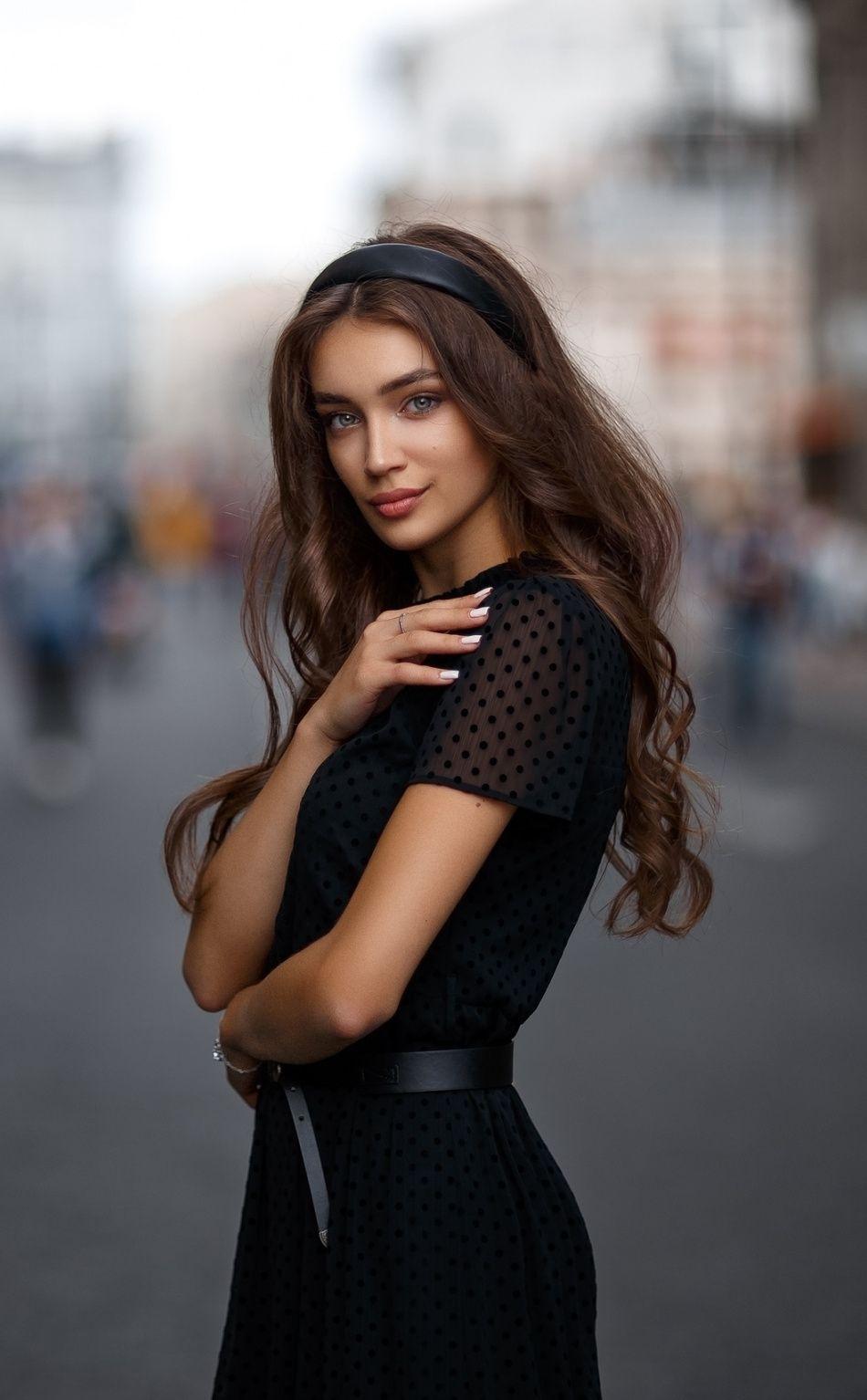 950x1534 Black Dress Pretty Long Hair Woman Model Wallpaper Long Hair Styles Women Beautiful Women Faces [ 1534 x 950 Pixel ]