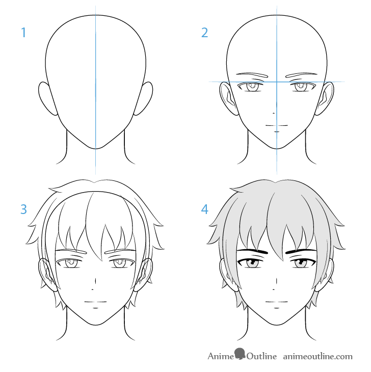 How To Draw Male Anime Characters Step By Step Animeoutline Guy Drawing How To Draw Anime Hair How To Draw Anime Eyes