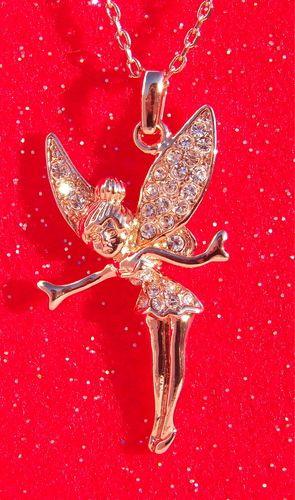 18k rose gold crystal tinkerbell pendant necklace fadas 18k rose gold crystal tinkerbell pendant necklace aloadofball Images