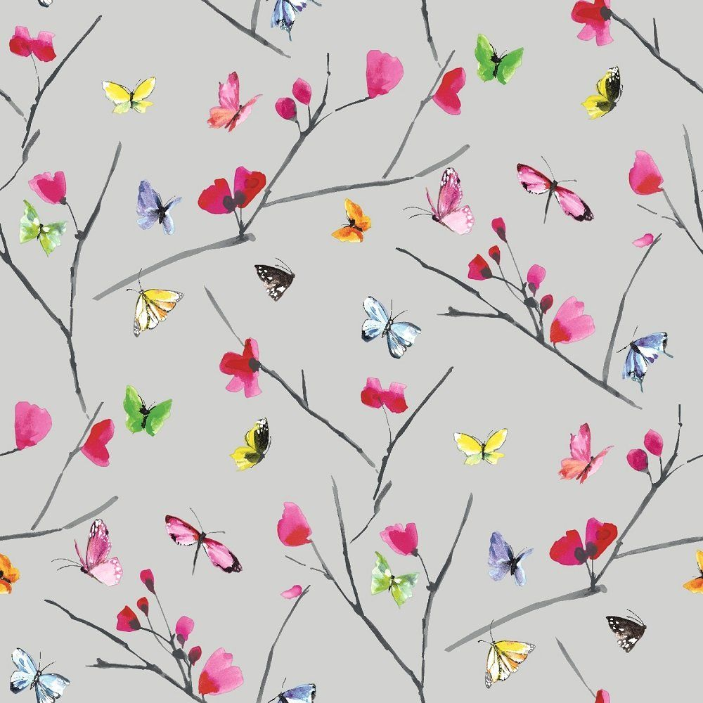 holden decor holden mazarine floral butterfly wallpaper 97770 - Wallpaper Decor