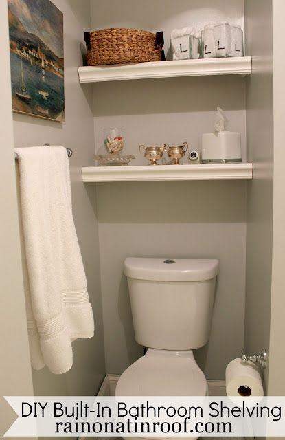 Diy Bathroom Shelves Built In Bathroom Shelves Above Toilet For 25 Gray Bathroom Decor Bathroom Shelf Decor Over Toilet Storage