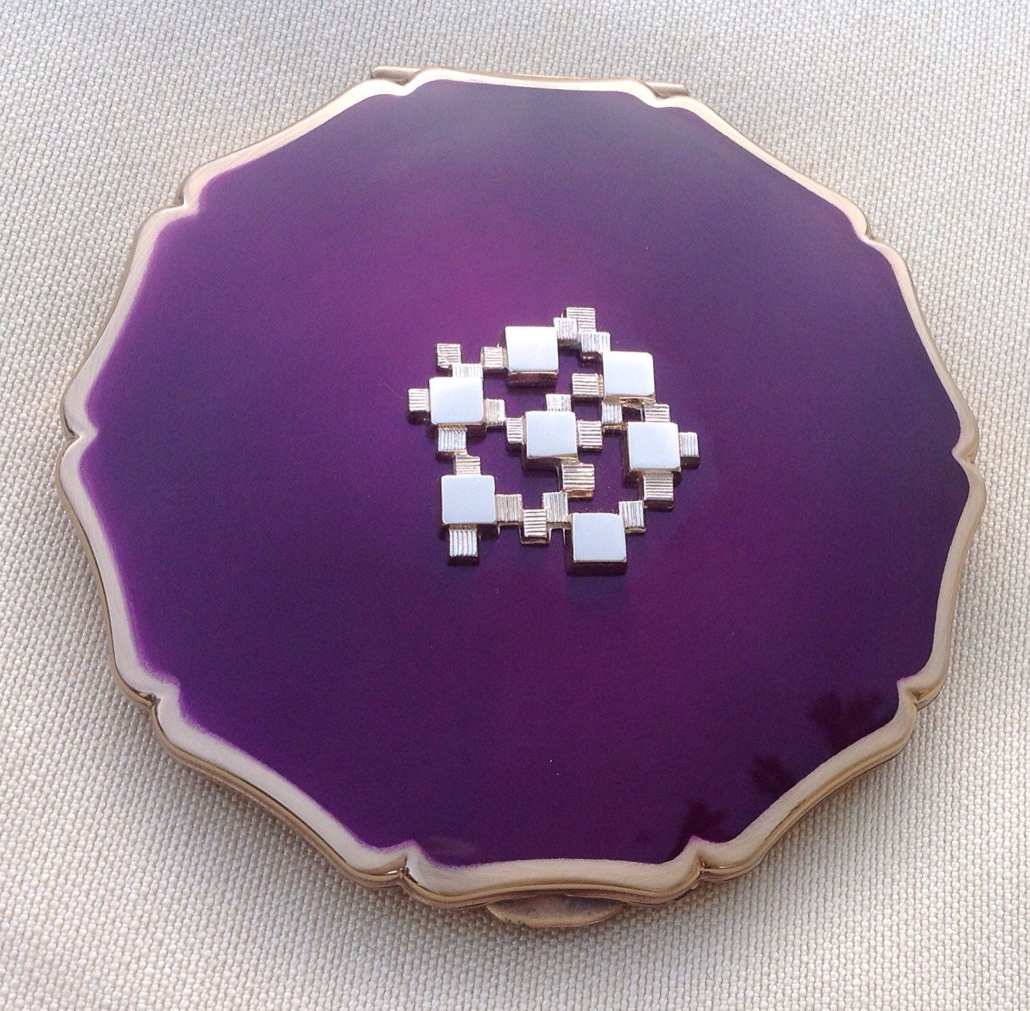 Stratton Queen Convertible Compact Vintage Powder 1970 S 80 Purple Handbag Mirror Christmas Gift By