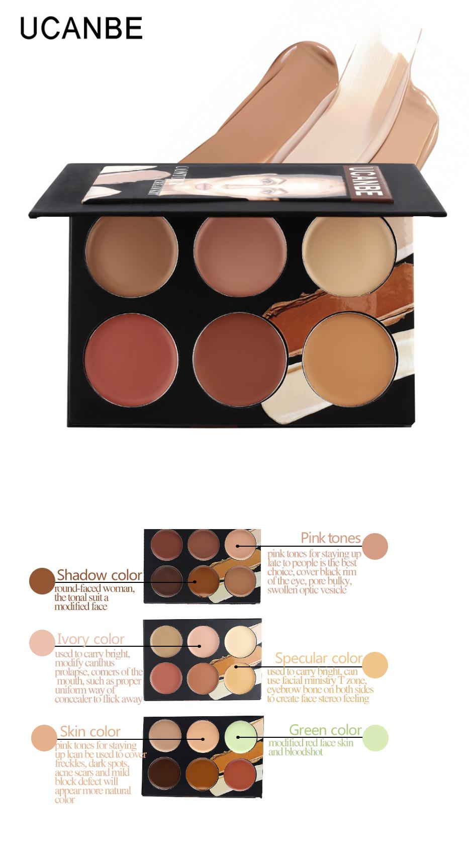 UCANBE Professional Cosmetic face 6 colors contour cream