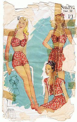 1940s Halter Neck Bikini and High Waisted Shorts. Sewing Pattern