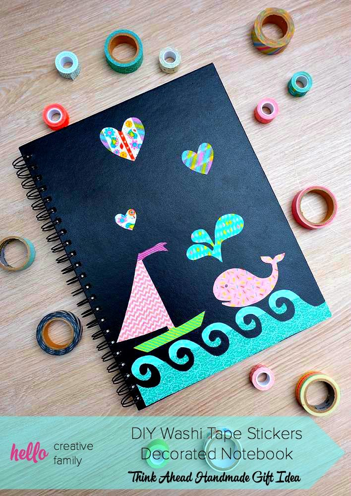9187f4dc67 ... may just be the cutest thing I've ever seen! Decorate a dollar store  sketchpad with DIY Washi Tape Stickers for an easy, personalized handmade gift  idea ...