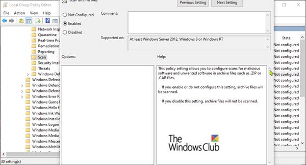 Configure Windows Defender To Scan Zip Rar Cab Files In Windows 10 Windows Defender Defender Antivirus Scan