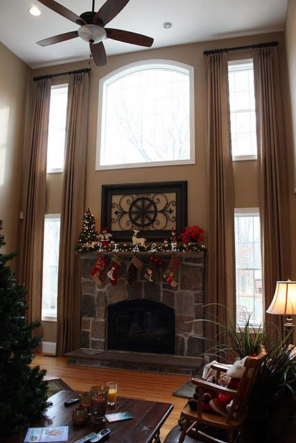 outstanding bay window living room ideas | Two story window treatments for my Great Room! | Home ...