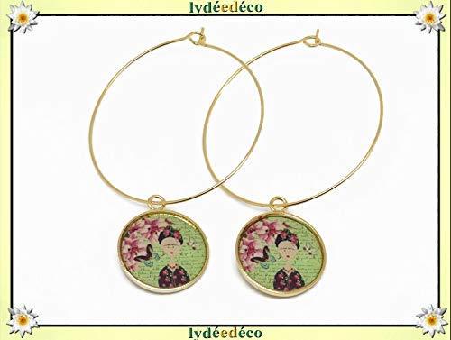 nuova versione amazon assolutamente alla moda Orecchini creolo Frida Kahlo farfalla ottone oro 24 carati ...