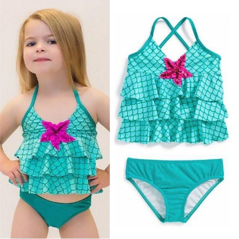 Baby Girls Halter Swimwear Bikini Set Mermaid Bathing Suit ...