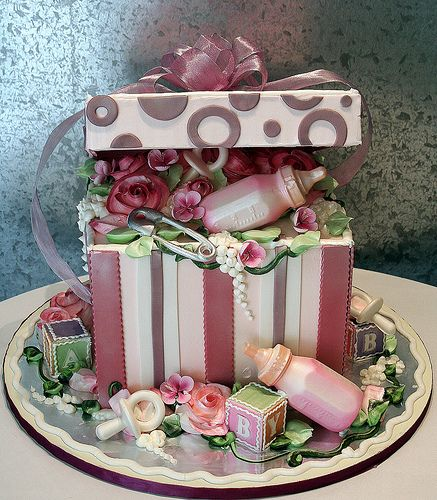 Baby's Gift Box | All edible cake designed as a gift box. Al… | Flickr - Photo Sharing!