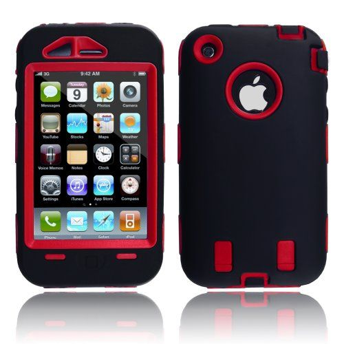 MagicMobile Hard Case w/ Soft Skin Rubber Silicone Cover for Iphone 3g 3gs Black / Red on http://unique-cases.kerdeal.com/magicmobile-hard-case-w-soft-skin-rubber-silicone-cover-for-iphone-3g-3gs-black-red