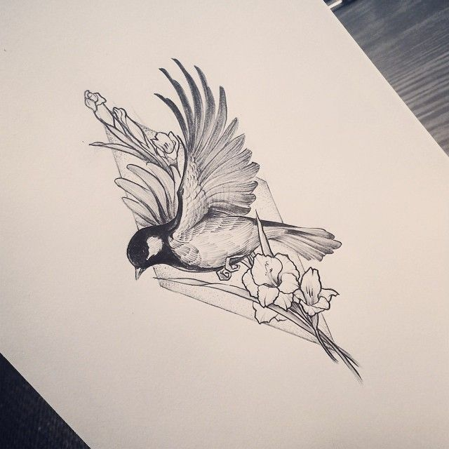 black and white bird tattoo design with geometric triangle and flower details, pin: morganxwinter -   22 flower bird tattoo
