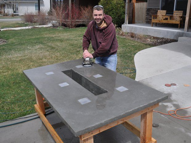Led Concrete Patio Table With Built In