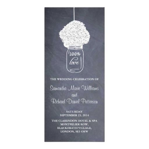 Hydrangea & Mason Jar Chalkboard Wedding Program Rack Card