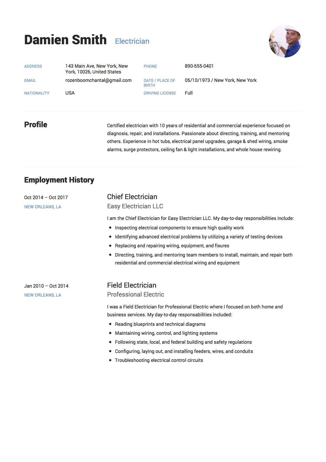 Resume Examples Electrician Free Electrician Resume Sample Template Example Cv Resume .