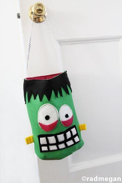 DIY Halloween  DIY Felt Frankenstein Candy Bag for Halloween DIY - decorate halloween bags