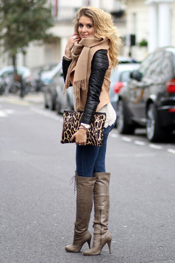 Lovely winter fashion look with scarf, jacket and laceup long boots women  fashion clothing outfit apparel style
