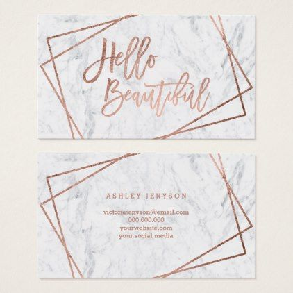 Makeupartist businesscards hello beautiful rose gold script makeupartist businesscards hello beautiful rose gold script geometric marble business card reheart Image collections