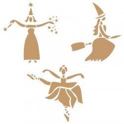 Stencil Deco Fiesta 002 Haloween Brujas Bailando