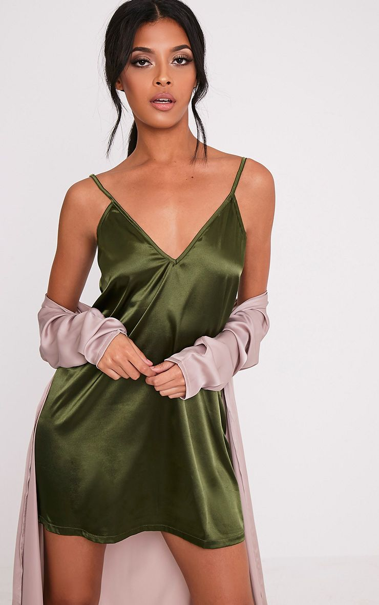 2e445b46583f Erin Olive Plunge Satin Slip Dress | Wedding hair | Dresses, Sexy ...