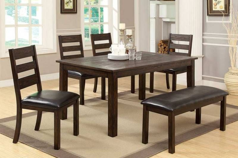 6 Pc Dark Walnut Wood Dining Set Table Parson Chairs Bench Cm3680t Dining Table Large Home Office Furniture Table