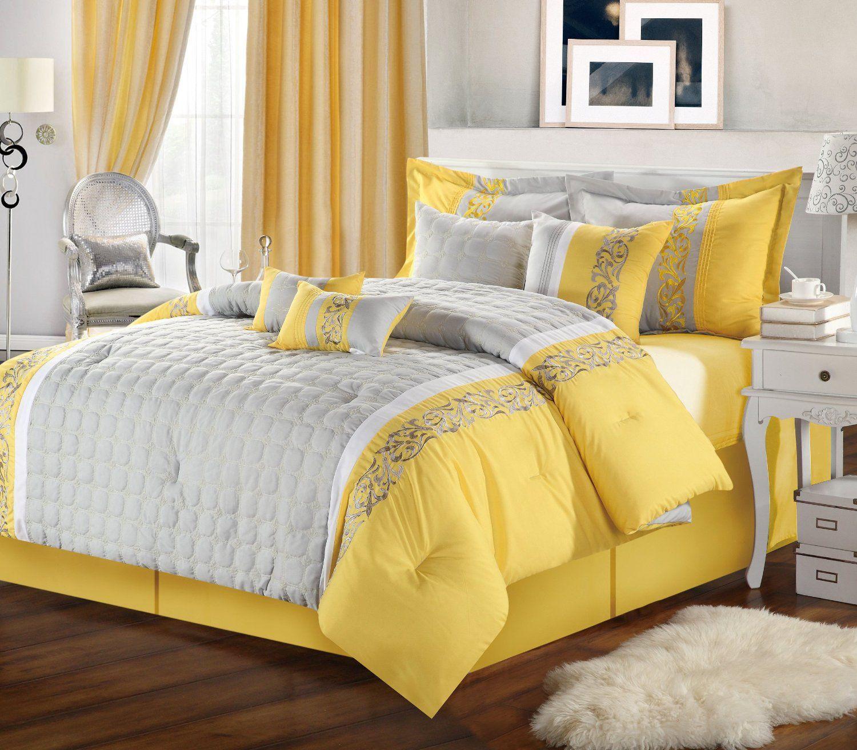 Amazon Com Chic Home 8 Piece Glendale Embroidered Comforter Set King Yellow Grey Yellow Bedroom Decor Yellow Bedroom Yellow Comforter