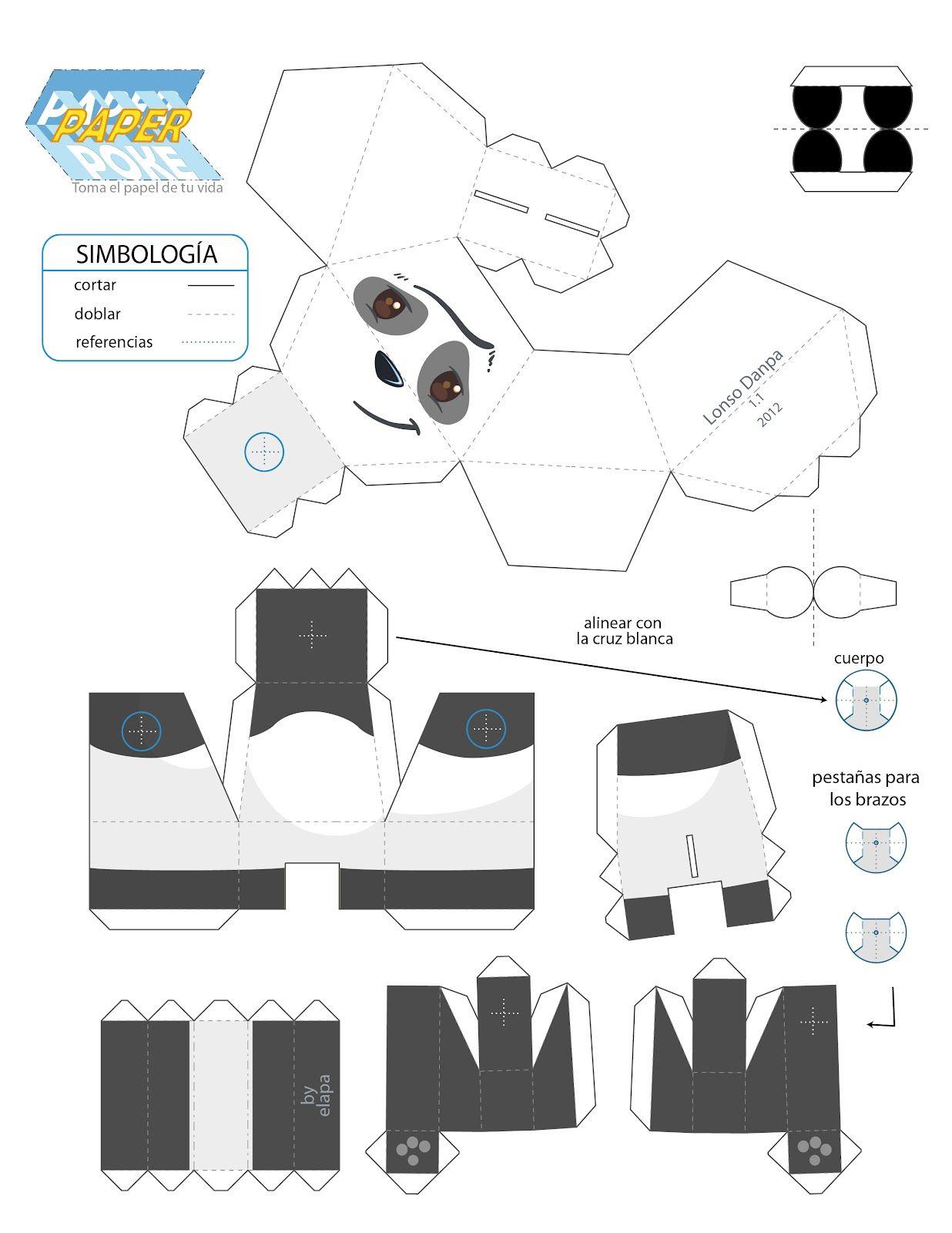 Papercraft De Un Panda Listo Para Recortar Y Armar