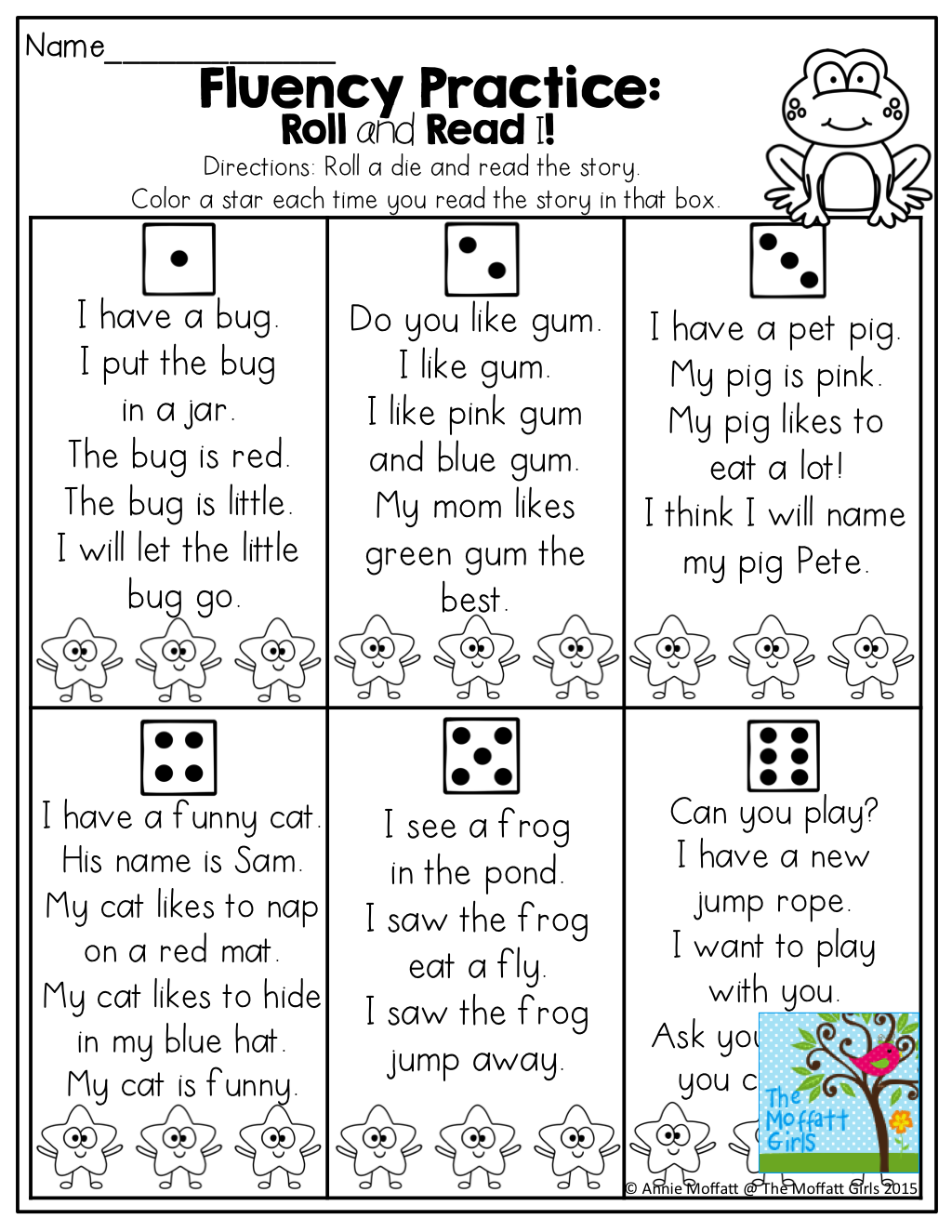 Fluency Practice Roll And Read A Simple Short Story With