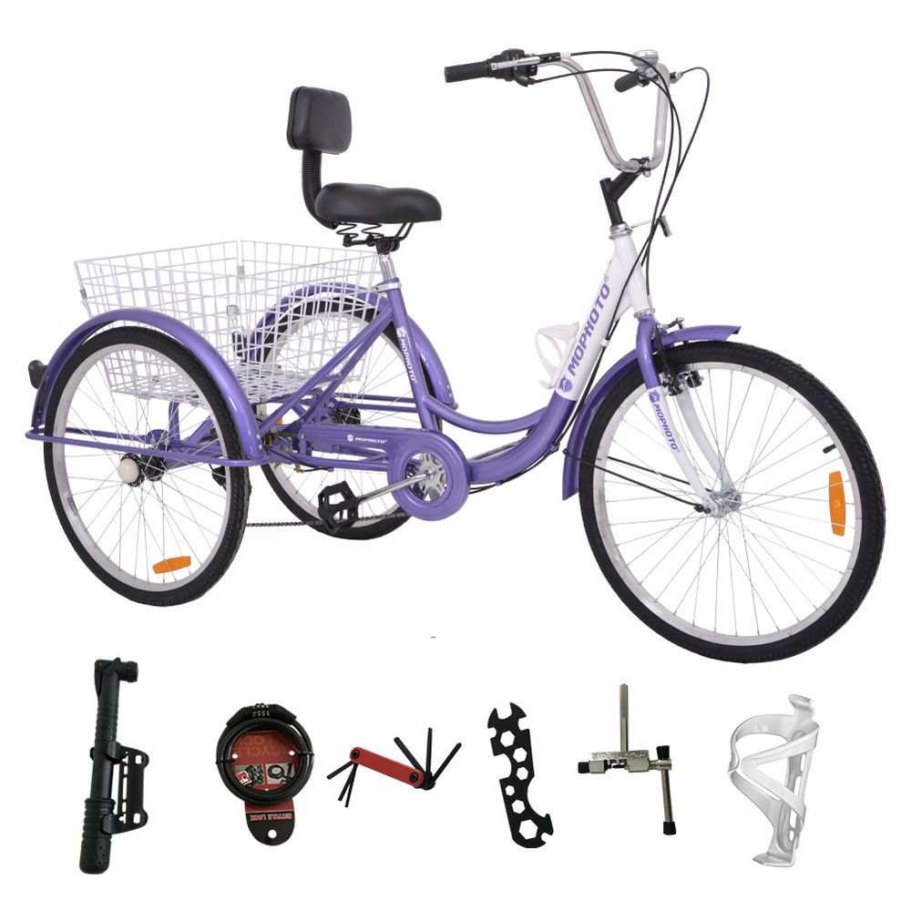 """NEW BLACK 24/""""  ADULT TRICYCLE 7-SPEED SHIMANO SHIFTERS 3-WHEELER TRIKES!"""