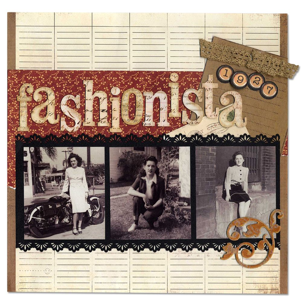 Fashionista Heritage Layout...can't wait to scrapbook some of our fashionable relatives.....Love anything heritage....I'm blessed!