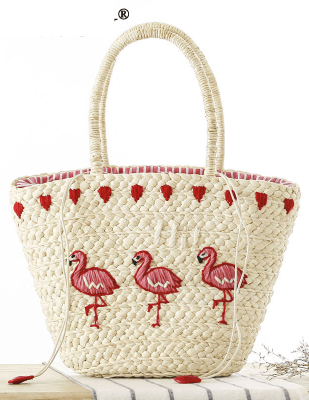 Pink Flamingo Embroidery Women s Straw Handbag - Just Pink About It c9411fa78c