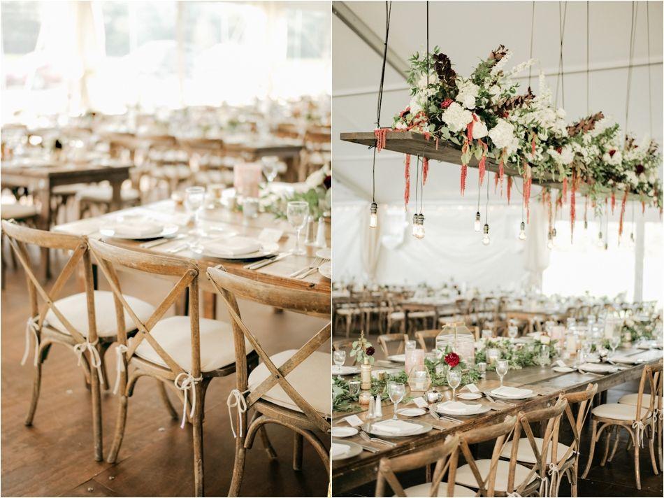 wedding reception minnetonkmn%0A Backyard Tent Wedding  Hanging Floral Greenery   Crossback Chairs   Custom  Illustrations