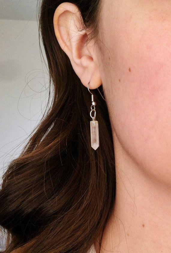 Rose quartz crystal point minimalist earrings by Borcik on Etsy