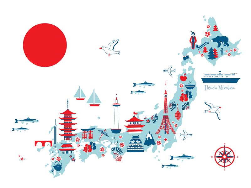 Cartoon Travel Map Of Japan Cartoon Map Japan Map Map