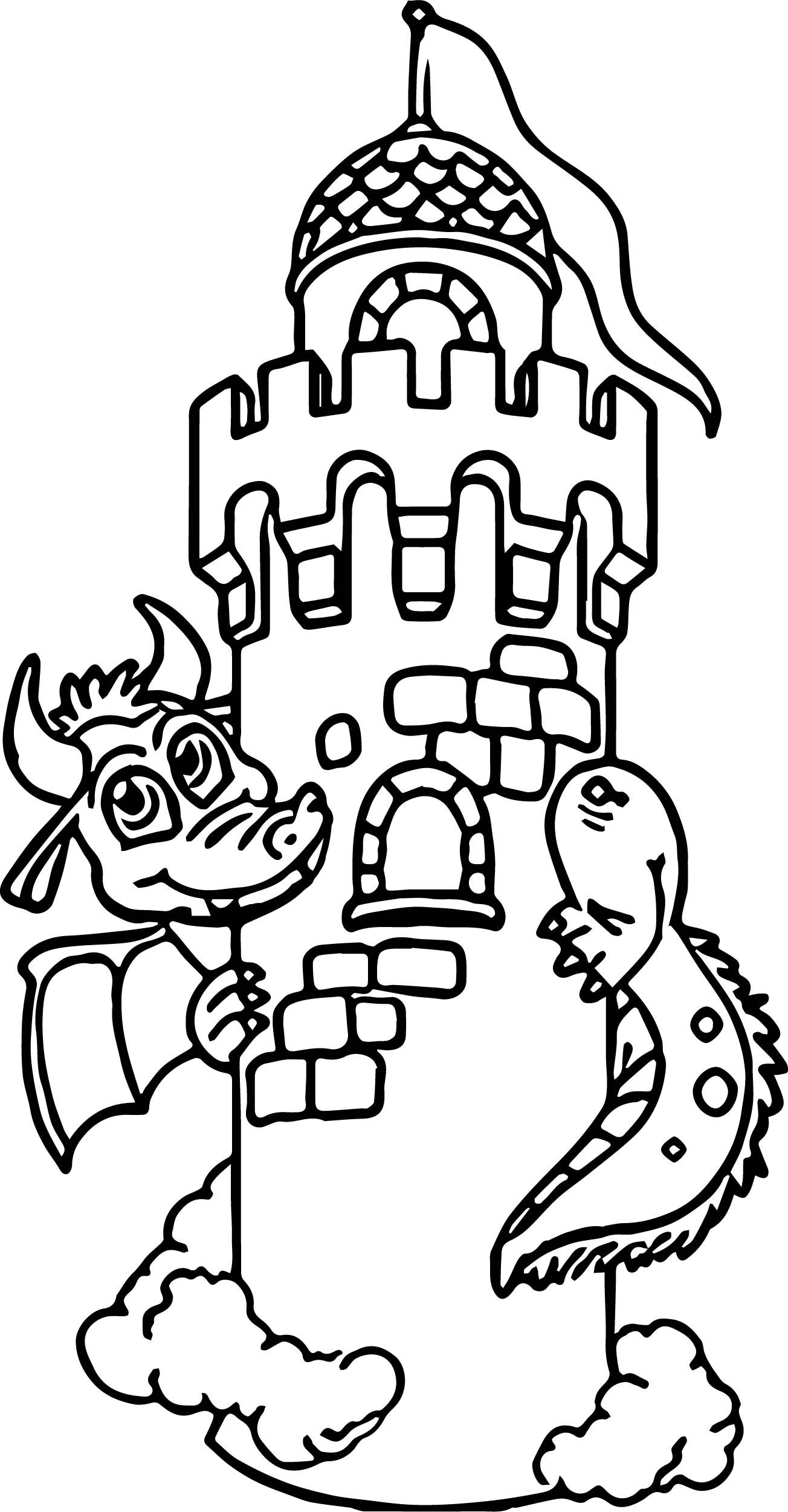 Nice Dragon Around Castle Coloring Page With Images