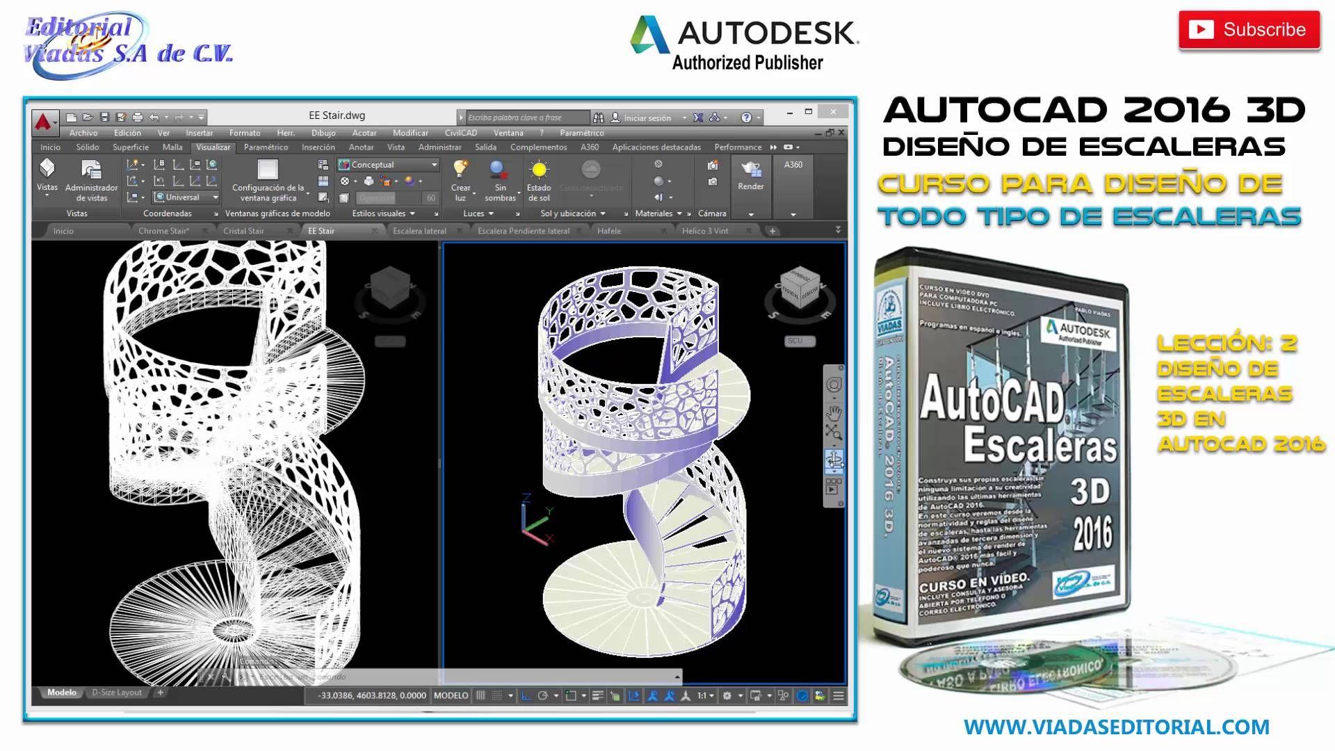 Autocad 2016 3d Curso Tutorial Para Diseño De Escaleras Leccion 2 Diseño De Escaleras 3d Disenos De Unas Diseño De Escaleras Autocad