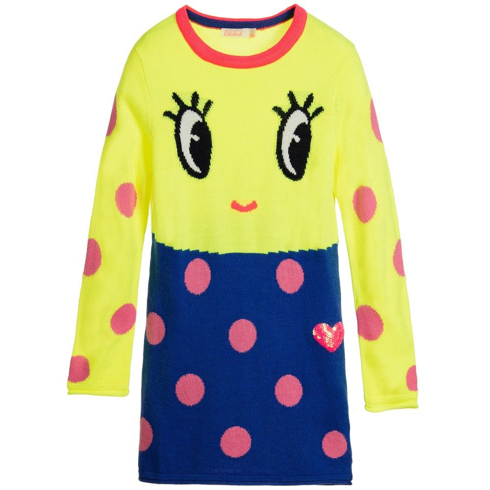 c6339f80cc Billieblush Girls Neon Yellow   Blue Knitted Sweater Dress at…