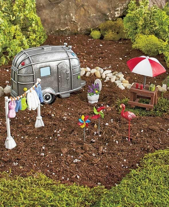 New 8 Pc Miniature Fairy Or Gnome Garden Set Camping Weekend Camper Picnic  Table