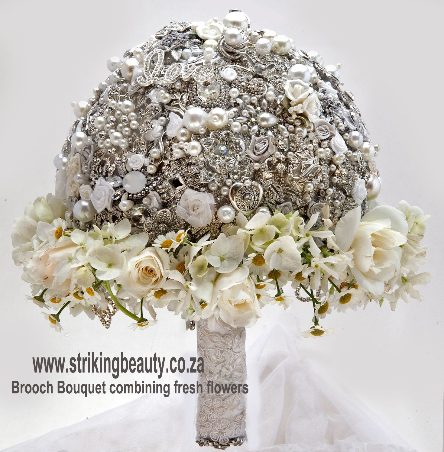 Silver And White Brooch Bouquet With Fresh Flowers Added Elegant
