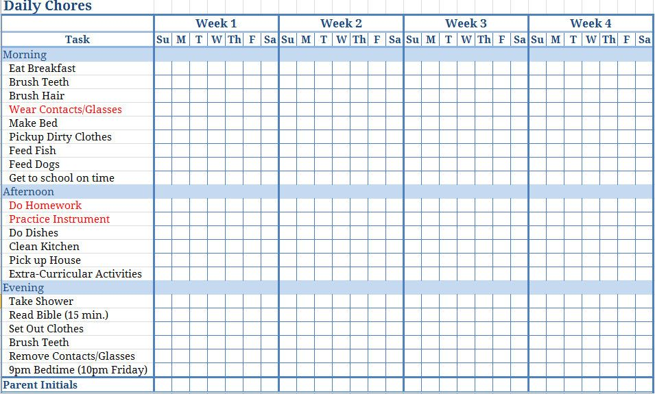 Free Templates Chore Charts Download This Printable